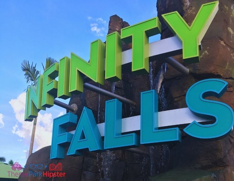 Infinity Falls Water Ride Entrance at SeaWorld Orlando. Using the Quick Queue Pass helps avoid long SeaWorld wait times.