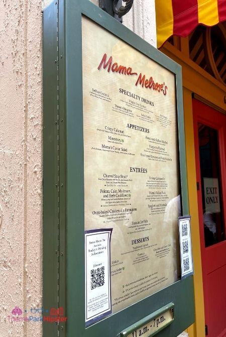 Mama Melrose Menu at Disney Hollywood Studios