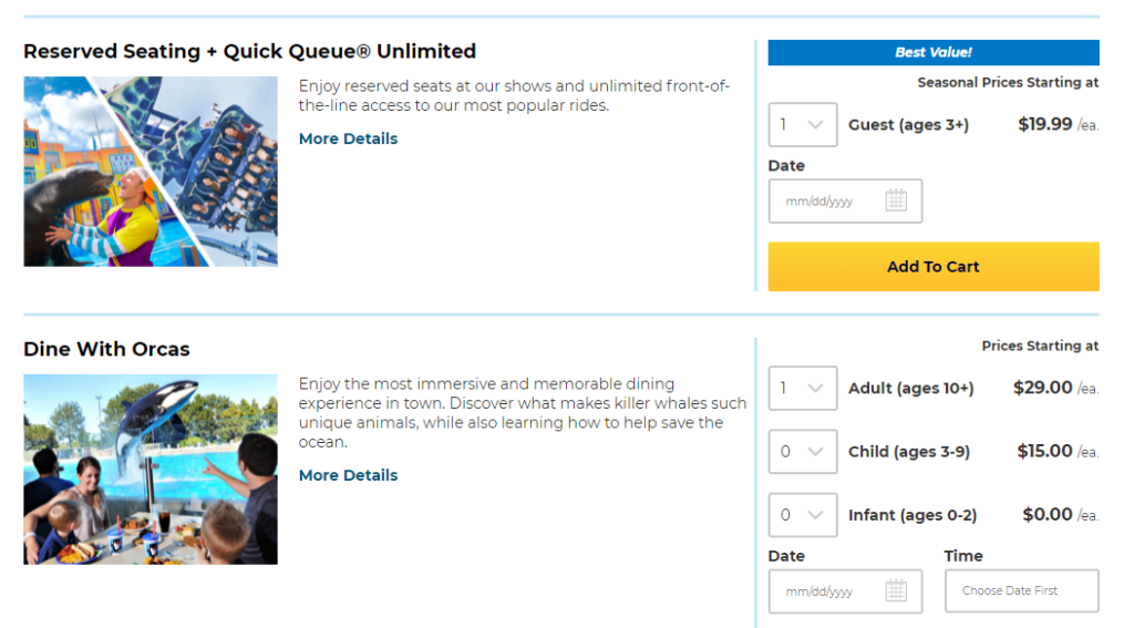 Quick Quick Reserve Seating Unlimited Pass helps avoid long SeaWorld wait times.
