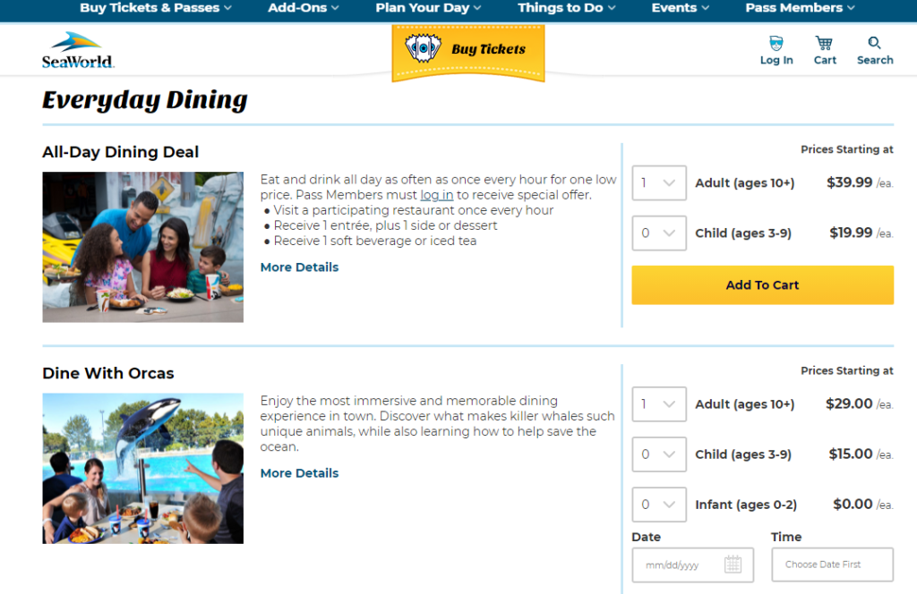 SeaWorld All Day Dining Options