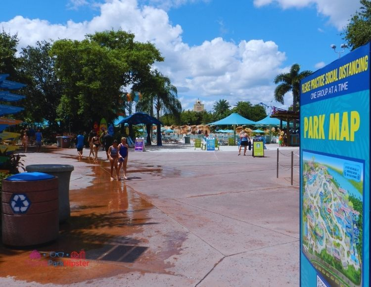 SeaWorld Aquatica Orlando Park Information Map with Wave Pool in the Background