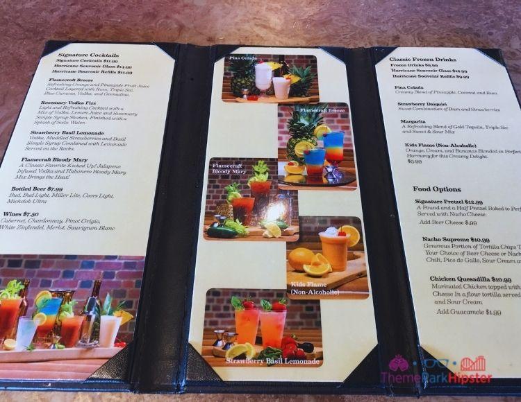 SeaWorld Orlando Flamecraft Bar Menu