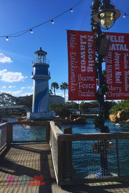 SeaWorld Orlando Park Entrance at Christmas