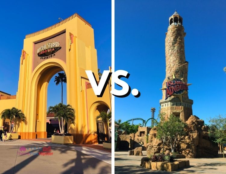 Universal Studios vs Islands of Adventures with Park Arches and Tower