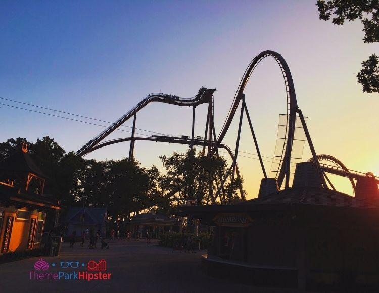 Cedar Point Valravn Roller Coaster at Dusk