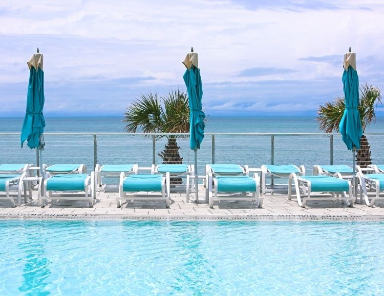 Clearwater Beach Florida ocean view from hotel pool