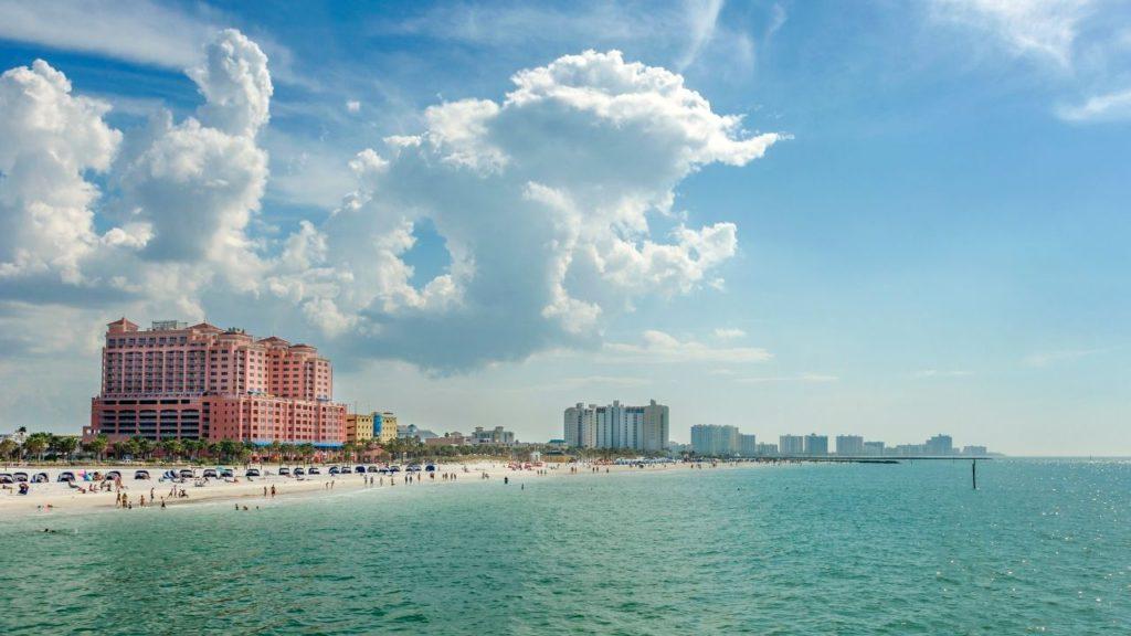Clearwater Beach Florida shoreline with Pink hotel Hyatt Regency. Making it the best beach close to Disney.