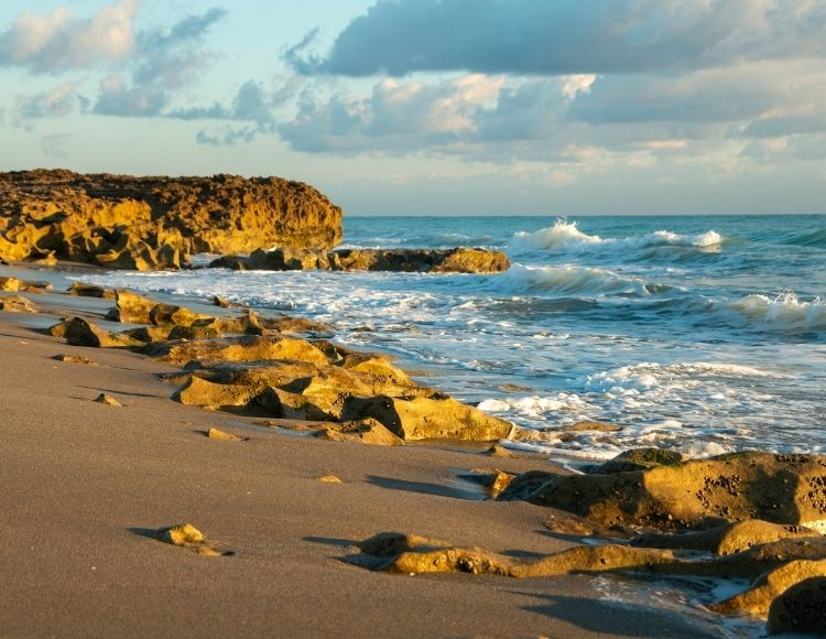 Jupiter Beach Florida Rocky Shoreline. Making it the best beach close to Disney.