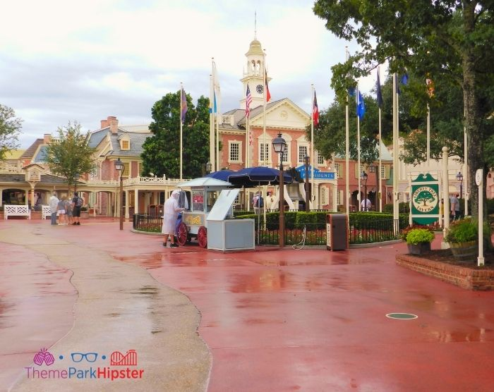 Rainy day in Liberty Square At Magic Kingdom Orlando Florida