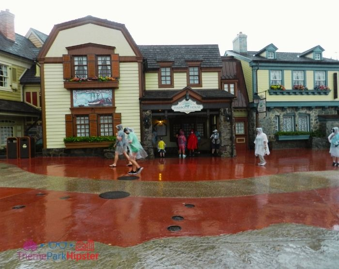 Rainy day in Liberty Square Shops At Magic Kingdom Orlando Florida