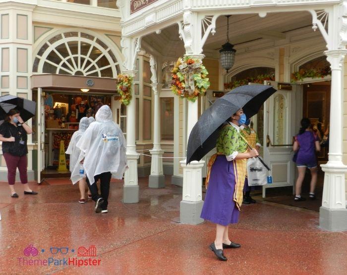 Rainy day in Main Street USA At Magic Kingdom Orlando Florida