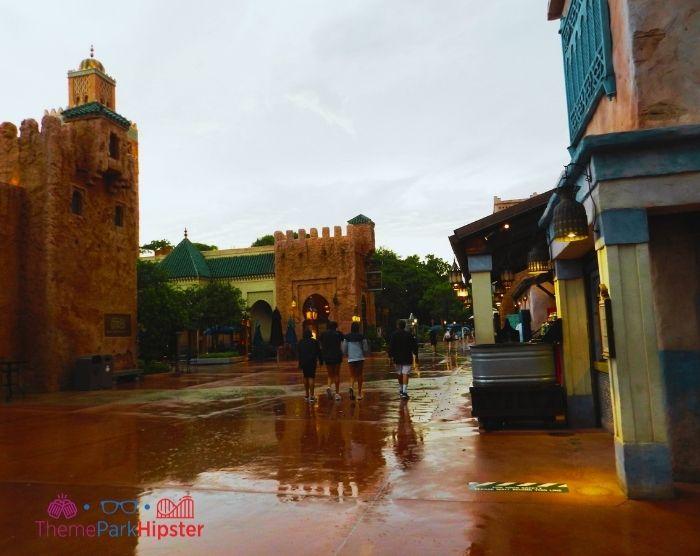 Rainy day in Morocco Pavilion At Epcot Orlando Florida