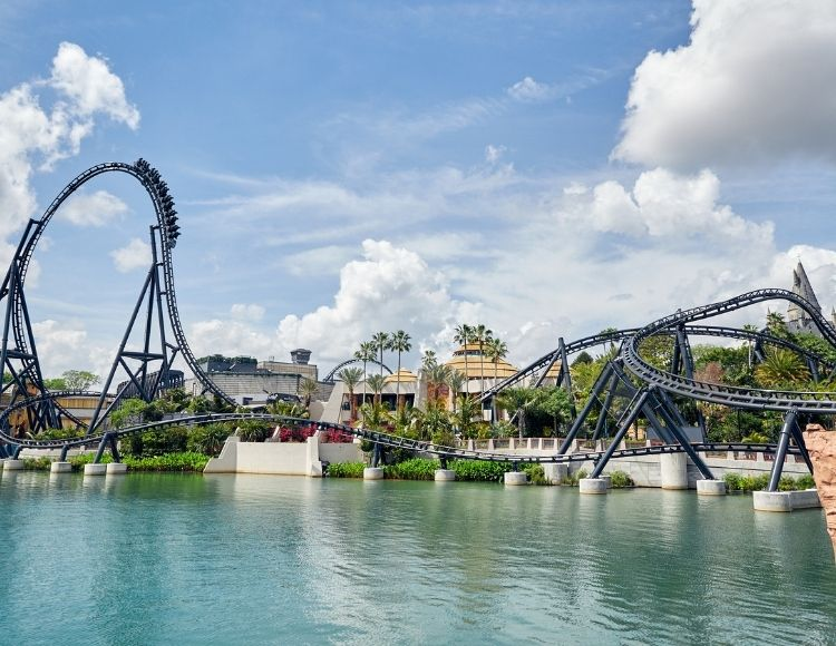 Velocicoaster going over top hat from lagoon Universal Orlando Photo