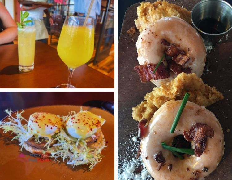 Best Breakfast in Disney Springs with Chicken and Donuts and Dole Whip Mimosa
