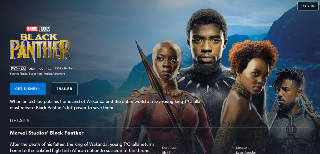 Black Panther on Disney Plus
