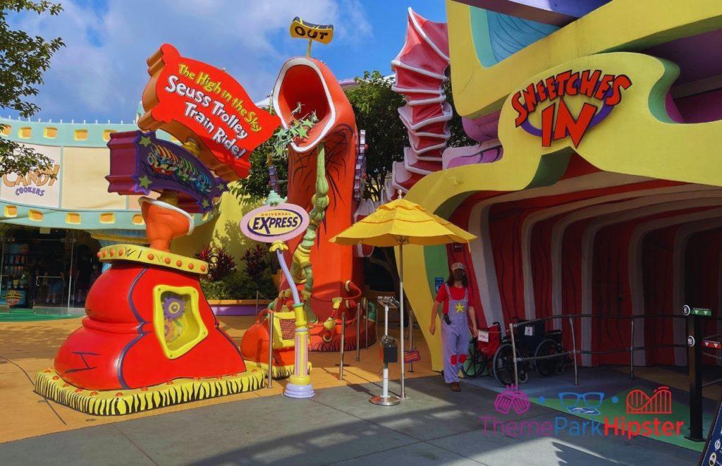 Seuss Trolley Train Ride Universal Islands of Adventure. Universal Orlando Express Pass.