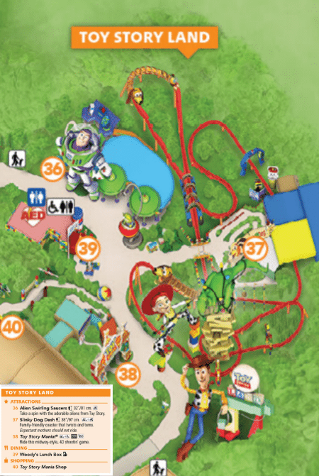 Toy Story Land Map with Reference Key Hollywood Studios