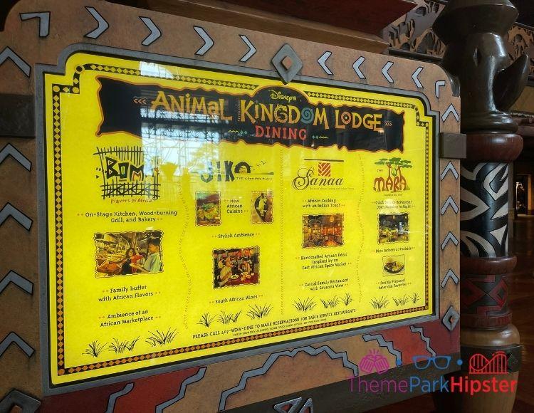 Animal Kingdom Lodge Restaurants Listing