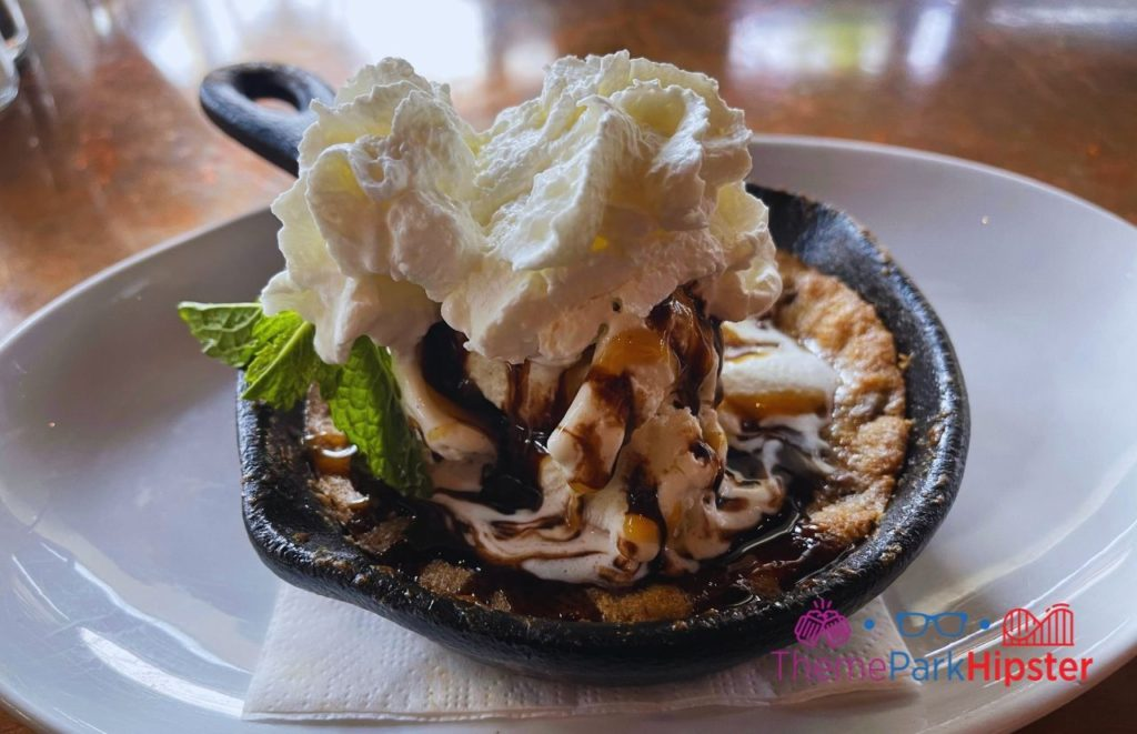 Chocolate Chip Cookie with Ice Cream at City Works. One of the best restaurants at Disney World