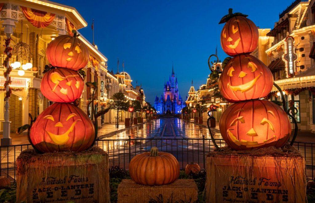 Disney Boo Bash Magic Kingdom Halloween Main Street USA with Cinderella Castle