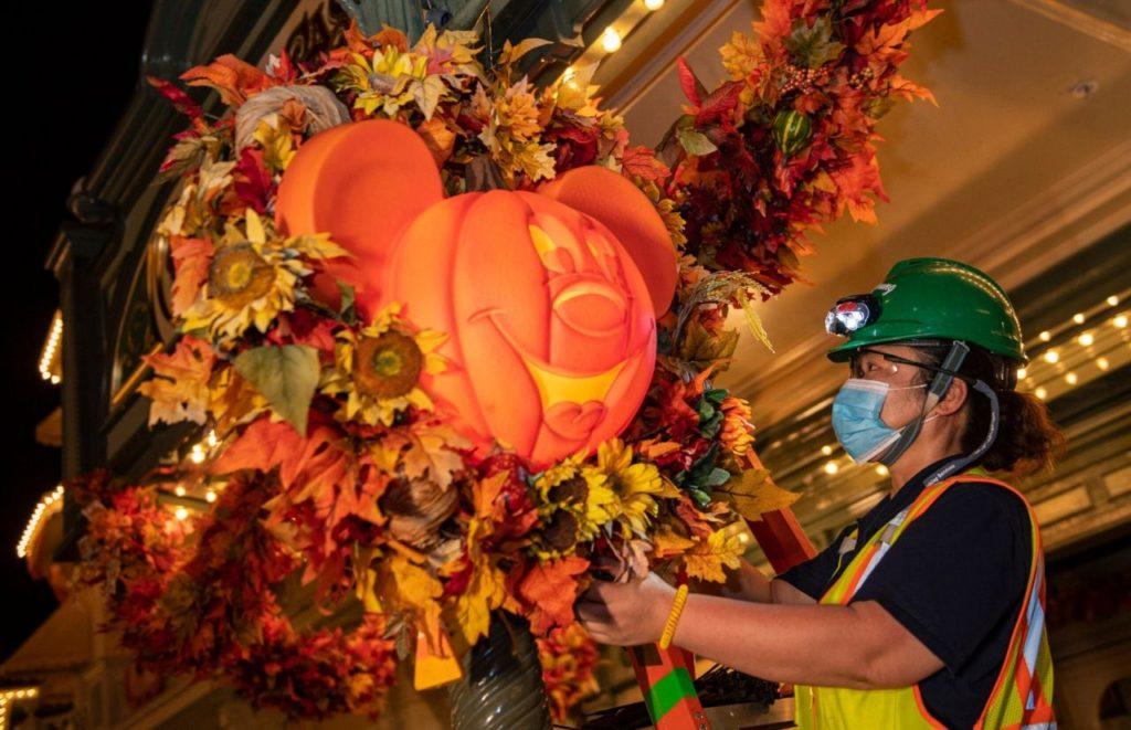 Disney Boo Bash Magic Kingdom Halloween Working Putting Up Decor