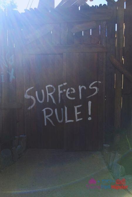 Typhoon Lagoon Surfers Rule on Fence