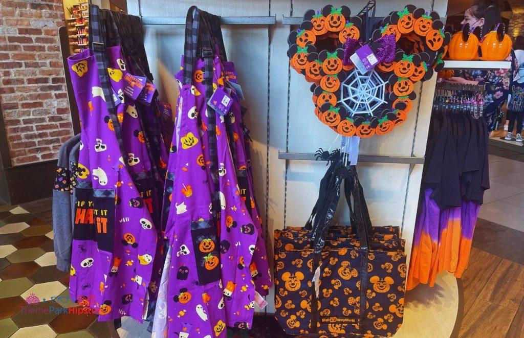 2021 Disney Halloween Merchandise Aprons Pumpkin Candle Holder Door Reef and Bag