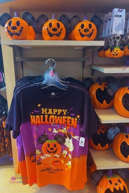 2021 Disney Halloween Merchandise Mickey Pumpkin Shirt