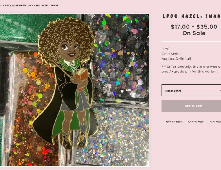 Chocolate Mini Me Pin Shop with Hazel as a Slytherin