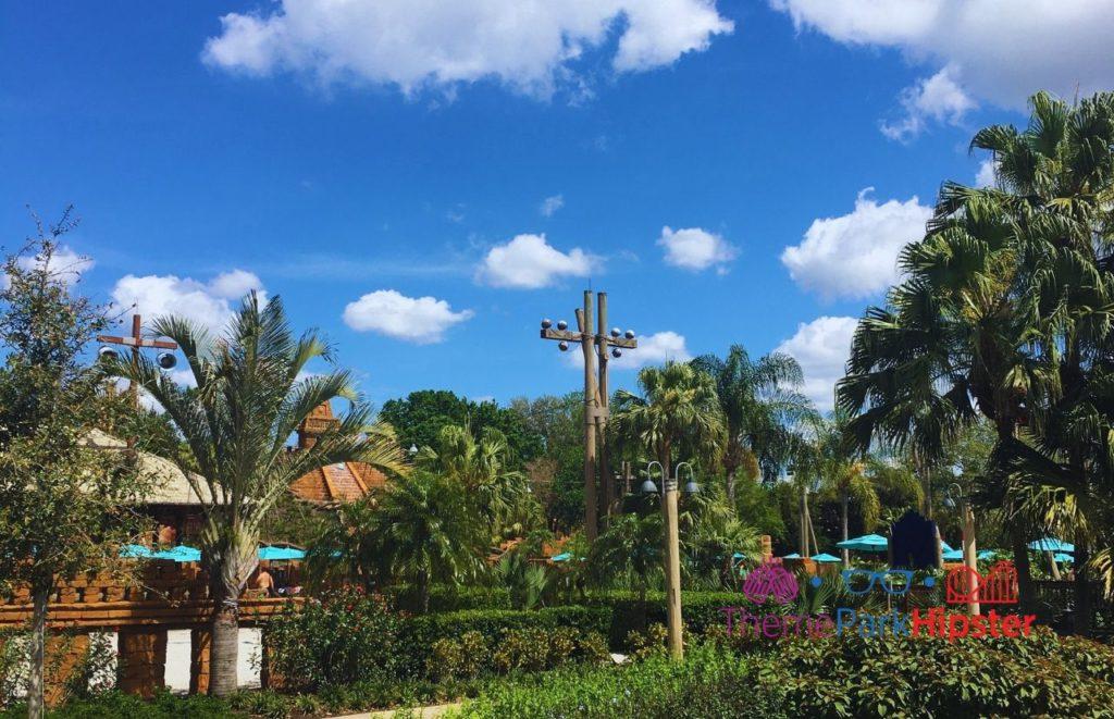Disney Coronado Springs Pyramid Pool Area making it one of the best pools at Disney!
