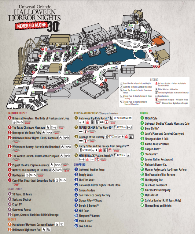 HHN 30 Map Halloween Horror Nights 2021 Map