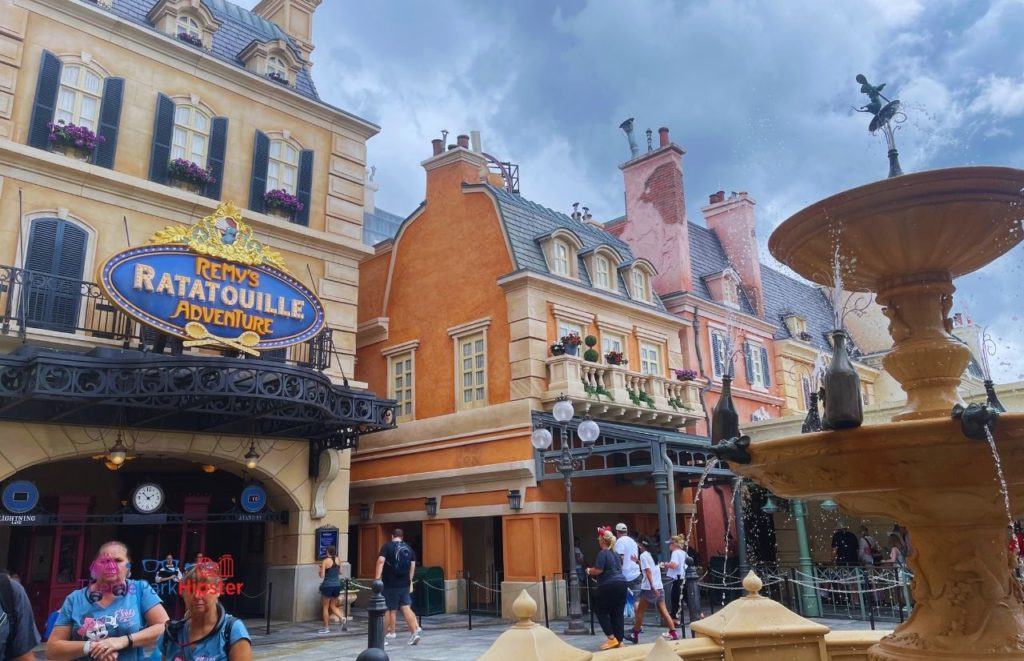 New Ratatouille Ride at Epcot front entrance with fountain
