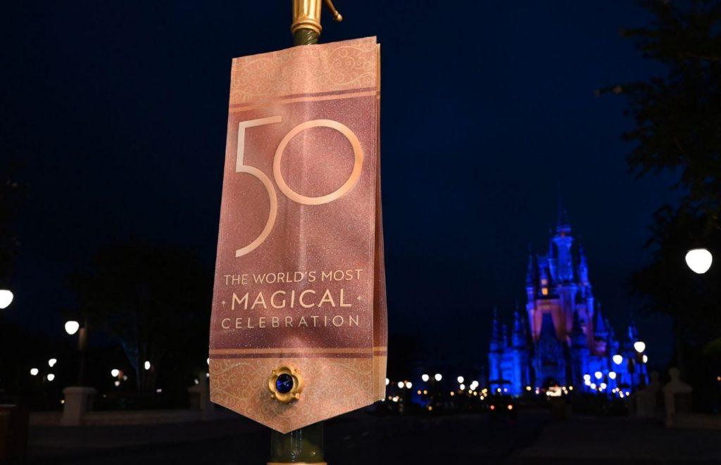 Disney World 50th Anniversary Celebration New regal jeweled banners are installed on Main Street, U.S.A. in Magic Kingdom Park at Walt Disney World Resort in Lake Buena Vista, Fla. Photographer Todd Anderson