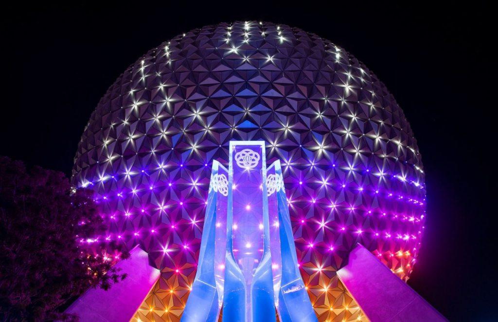 Spaceship Earth Beacon of Magic at night at Walt Disney World Resort in Lake Buena Vista, Fla. Photographer Todd Anderson Disney World 50th Anniversary Celebration