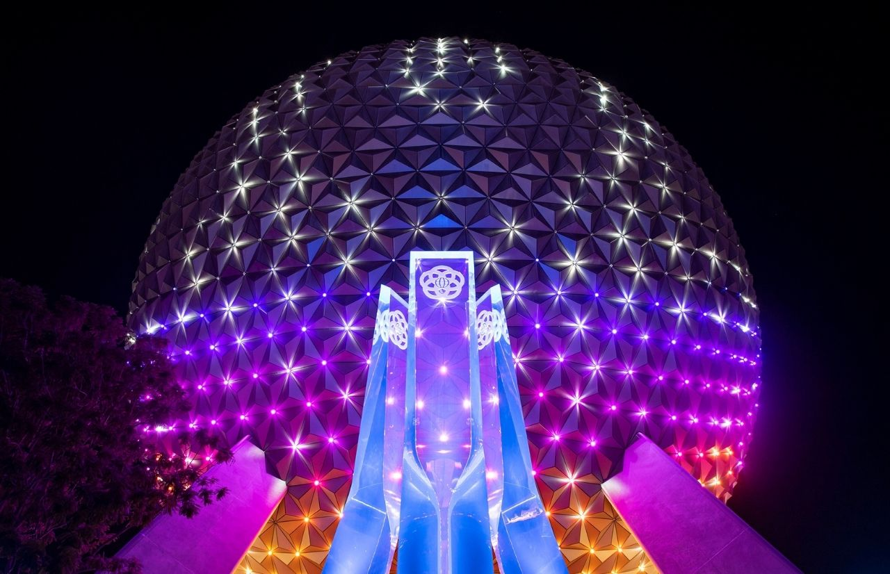 Spaceship Earth Beacon of Magic at night at Walt Disney World Resort in Lake Buena Vista, Fla. Photographer Todd Anderson
