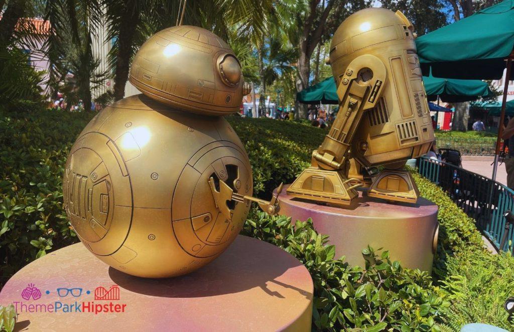 Star Wars Gold Statues Disney World 50th Anniversary Celebration at Hollywood Studios